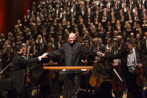 Maestro Christoph Eschenbach with Houston Symphony and Chorus after Mahler's Symphony of a Thousand Photo by Bruce Bennett
